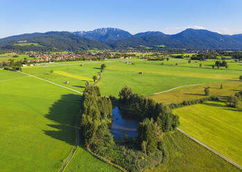 Aerial view of Pfundweiher and Bichl with Benediktenwand in background, Tölzer Land, Upper Bavaria, Bavaria, Germany - SIEF08997