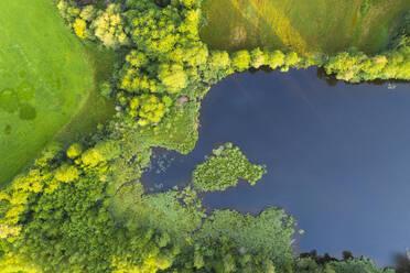 Aerial view of Schönauer Weiher, Bad Heilbrunn, Tölzer Land, Upper Bavaria, Bavaria, Germany - SIEF09000