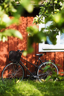 Bicycle standing in front of summerhouse in Stockholm Archipelago - FOLF10369