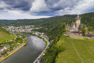 Aerial view of castle against cloudy sky in town, Cochem, Germany - RUNF02914