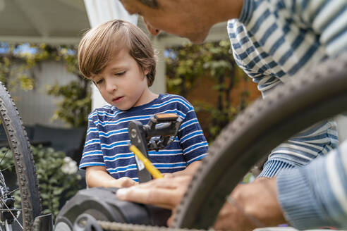Father and son repairing a bicycle in garden - DIGF08149