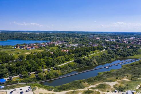 Aerial of the white sand beach of Yantarny, Kaliningrad, Russia - RUNF03038