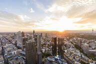 Buildings in city against cloudy sky, Frankfurt, Hesse, Germany - WDF05491