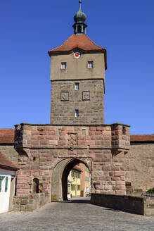 Upper Gate against clear blue sky in Wolframs-Eschenbach, Germany - LBF02713