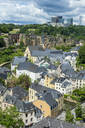High angle view of residential buildings at old town in Luxembourg - RUNF03044