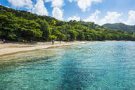 Scenic view of Princess Margaret beach against sky, Admiralty Bay, Bequia, St. Vincent and the Grenadines, Caribbean - RUNF03079