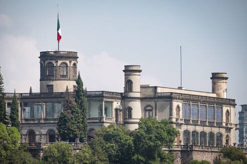 View of Chapultepec Castle against sky in Mexico city during sunny day, Mexico - ABAF02248
