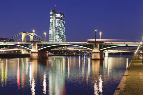 View over Main River to Ignatz Bubis Bridge and European Central Bank, Frankfurt, Hesse, Germany, Europe - RHPLF08983