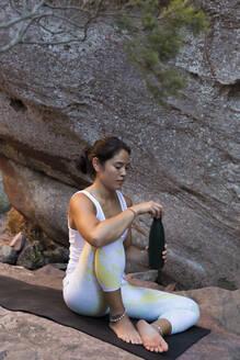 Ferreries, Menorca, Baleares,Spain. Woman doing sport outdoors - JPTF00309