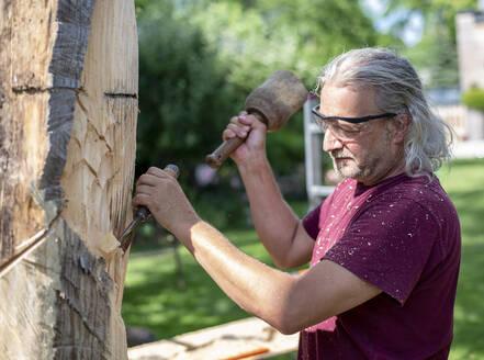 Wood carver carving sculpture, using chisel - BFRF02055