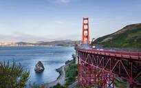 View of Golden Gate Bridge from Golden Gate Bridge Vista Point at sunset, San Francisco, California, United States of America, North America - RHPLF09446