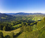 Scenic view of landscape against clear sky from Sonnatraten, Gaissach, Isartal, Isarwinkel, Upper Bavaria, Bavaria, Germany - SIEF09016