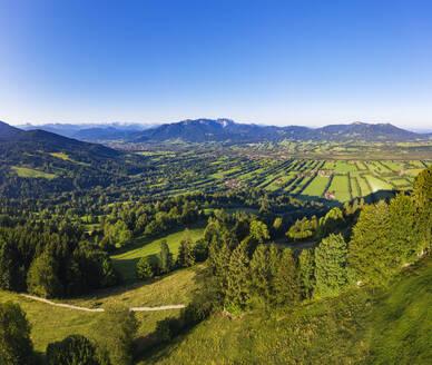 Scenic view of landscape against clear sky from Sonnatraten, Gaissach, Isartal, Isarwinkel, Upper Bavaria, Bavaria, Germany - SIEF09016