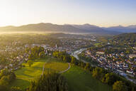 Aerial view of Bad Toelz against clear sky at sunrise, Bavaria, Germany - LHF00705
