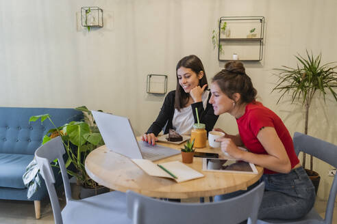 Two young women using laptop in a cafe - GIOF07116