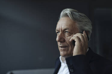 Portrait of a senior businessman talking on cell phone - GUSF02577