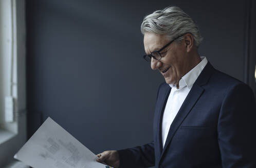 Senior businessman looking at papers - GUSF02607