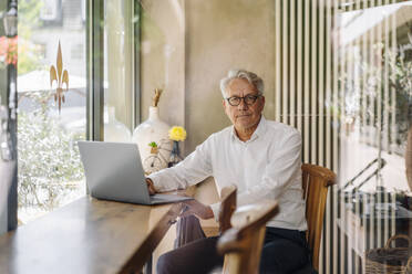 Portrait of senior businessman with laptop in a cafe - GUSF02618