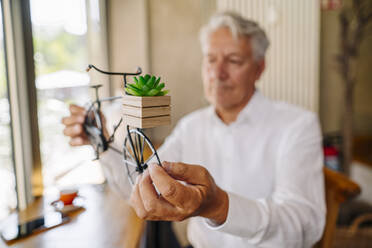 Senior businessman holding bicycle model in a cafe - GUSF02624