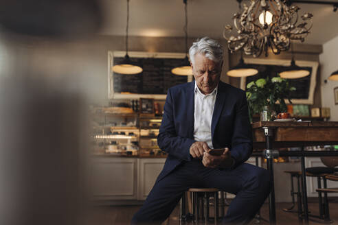 Senior businessman using cell phone in a cafe - GUSF02645