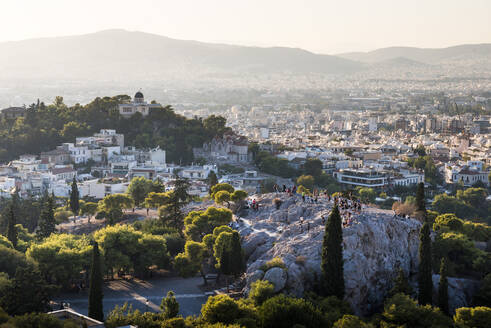 Areopagus Hill, Athens at sunset, Attica Region, Greece, Europe - RHPLF10392