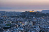 View over Athens and The Acropolis at sunset from Likavitos Hill, Athens, Attica Region, Greece, Europe - RHPLF10401
