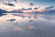 Skagsanden Beach at sunset, Flakstad municipality, Lofoten Islands, Nordland, Norway, Europe - RHPLF10603