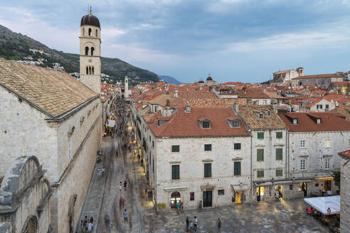 View of the Franciscan Monastery and its bell tower at dusk, Dubrovnik, Dubrovnik-Neretva county, Croatia, Europe - RHPLF10848