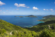 Tranquil view of Caribbean sea against blue sky, Tortola, British Virgin Islands - RUNF03147