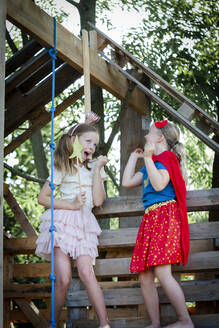 two young beautiful girls dressed up as princess and superhero playing in a beautiful, tree house in the afternoon sun, lower austria, austria - HMEF00573