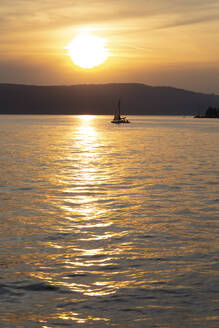 Silhouette sailboat sailing on Lake Constance against sky during sunset at Überlingen, Germany - FCF01803