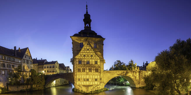 Altes Rathaus (Old Town Hall) at dusk, Bamberg, UNESCO World Heritage Site, Bavaria, Germany, Europe - RHPLF11107