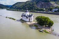Aerial view of Pfalzgrafenstein Castle at Falkenau island in Kaub, Germany - RUNF03167
