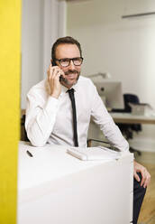 Businessman talking on the phone at desk in office - MIK00063