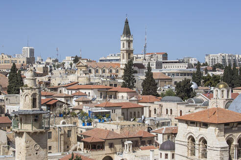 View of Christian Quarter and the Church of the Holy Sepulchre, Old City, UNESCO World Heritage Site, Jerusalem, Israel, Middle East - RHPLF11772