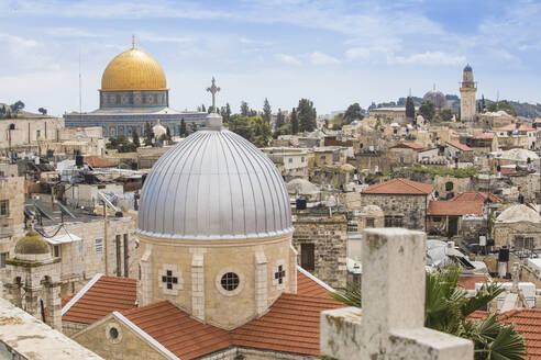 View of Dome of the Rock and the Old City, UNESCO World Heritage Site, Jerusalem, Israel, Middle East - RHPLF11868
