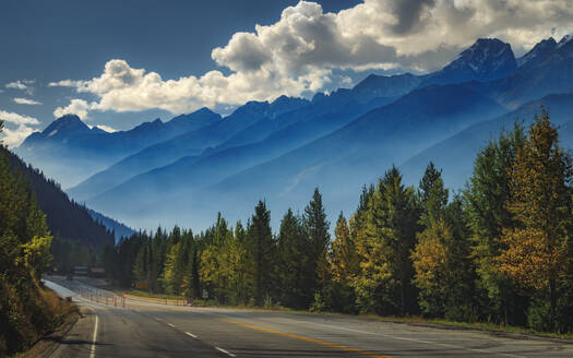 Scenic view of the mountains aligning the Trans Canada Highway in Glacier National Park, British Columbia, Canada, North America - RHPLF12024