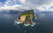 Aerial panoramic of Kallur lighthouse and cliffs, Kalsoy island, Faroe Islands, Denmark, Europe - RHPLF12111