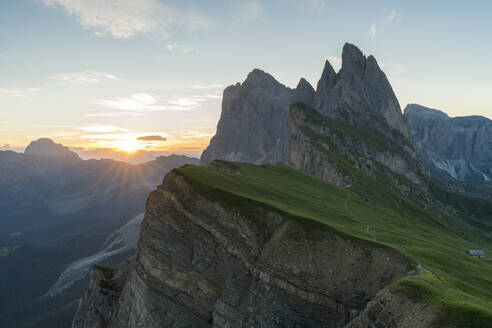 Seceda mountain at sunrise in Italy, Europe - RHPLF12219