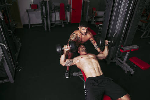 Muscular men training in gym - LJF01012
