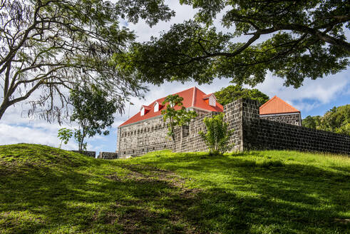 Low angle view of Fort Shirley on hill, Dominica, Caribbean - RUNF03253