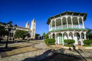 View of St. Philip the Apostle Cathedral against clear blue sky during sunny day, Puerto Plata, Dominican Republic - RUNF03293