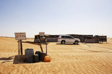 Petrol station in the desert, Wahiba Sands, Oman - WWF05307