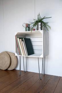 Upcycled fruitcrate used as bookshelf - GISF00470
