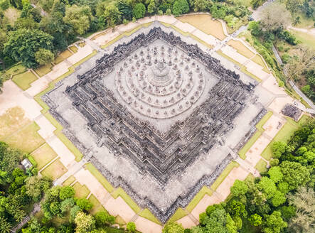 Aerial view of the world's largest buddhist temple Borobudur in Java, Indonesia - AAEF03792