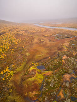 Aerial view of beautiful abstract landscape in the reserve of Käsivarsi Wilderness Area in Finland. - AAEF04059
