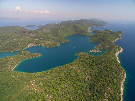 Aerial view of Big Lake with Monastery of Saint Mary, Croatia. - AAEF04080