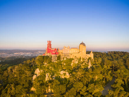 Aerial view of park and National palace of Pena, Portugal - AAEF04170