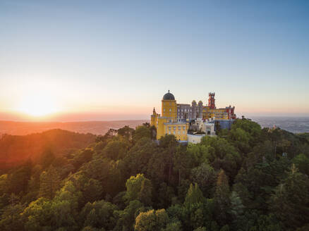 Aerial view of park and National palace of Pena, Portugal - AAEF04173