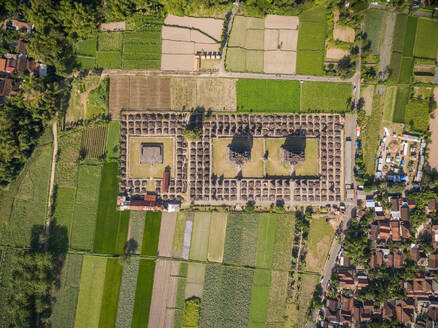 Aerial view above of well preserved archaeological ruin, Yogyakarta, Indonesia - AAEF04275